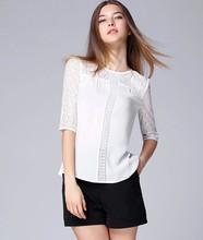 2015 nuevo diseño de la gasa elegante para mujer de la oficina blusa