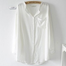 Garment wash new style office stand collar open big size blouse pictures big collar blouse