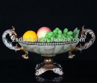 Resin double ear shaped antique fruit bowl