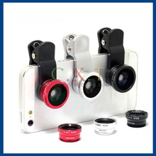 3 in 1 Fish eye Lens Macro Lens Wide Angle Kit Set for iPhone 4S 5 5S for Samsung
