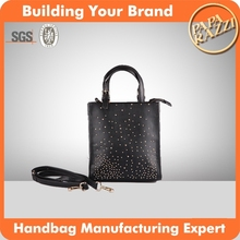3537 New design Black PU Shopper Bag Brand Handbags 2015 trends