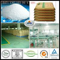 halal food ingredients E471 China Large Manufacturer CAS:123-94-4,C21H42O4,HLB:3.6-4.0, 99%GMS