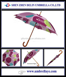 Auto open 23''x8k straight order/buy/purchase hooked handle umbrella supplier