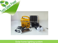 Solar panel 4w6v green solar home system kits with for the wild tourism, home lighting, adventure, reading, entertainment