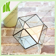 NEW! Just add some soil and a small plant to light the room!geometrical hand blown glass bottle terrarium