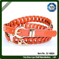 faux leather belt for woman knitted braided pu belt waist new fashion with metal pin buckle