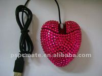 usb wired pretty diamond /crystalheart shaped computer mouse