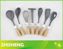 KW-W10 kitchenware set wood handle, 10-pieces nylon cooking utensil set