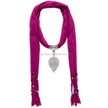 New Design Dark Purple Color Flower Pendant Scarf With Tassel