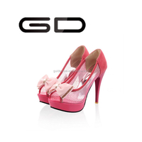 Woman mesh high heels ladies bowtie peep-toe shoes from china wholesale