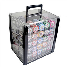 1000pcs poker chips blank or with hot stamp and poker accessories and aluminum cosmetic case in one set