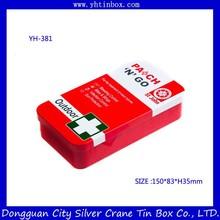 Rectangular metal tin box with hinged lid/ rectangular tin box for pill packaging