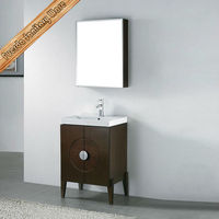 Hotel Style Cheap Hand Wash Basin Mirrored Bathroom Vanity Cabinet