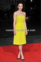Elegent tea length sleeveless sexy Celebrity Dresses customized made TM1280 yellow dresses