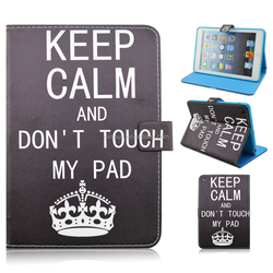 Don't Touch My Pad Stand TPU+PU Leather Tablet Case For iPad Mini 1/2/3