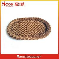 Curly PV fleece soft foam cat mat,oval dog basket,brown plush dog bed basket