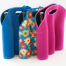 neoprene three bottles cooler bags/insulated cooler holders for six cans