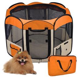 "New 45"" Medium Pet Cat Dog Orange Playpen Puppy Kennel Crate Free Carrying Bag"
