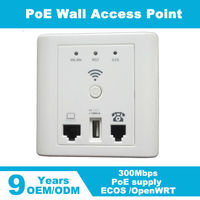 300Mbps indoor in wall AP access point 802.3af/at VLAN & 48v POE support for hotel wifi cover Access Controller System MTK7620