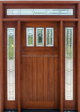 Mahogany Wooden Front Door Design With Sidelites and Transom