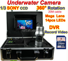 """Rotate 360 Degree 1/3 SONY CCD 700TVL Underwater Fishing Camera DVR Record Video Fish Finder 7"""" TFT LCD 20M Cable 14pc White LED"""