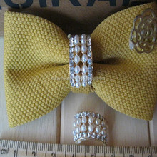 DIY accessories Exquisite Customized girls jewelry alloy metal artificial pearls ornament for bowknot