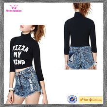 Custome Printed Black High-neck Crop Tops for Girls