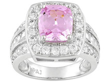 7.14ctw Pink & White, Rhodium Plated Sterling Silver Ring