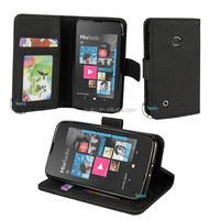 premium folding synthetic leather cell phone case flip cover for nokia lumia 530 with card holder