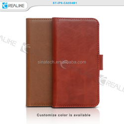 real leather for iphone 6,mobile phone wallet case,100% hand-made real leather case for iphone 6 4.7inch