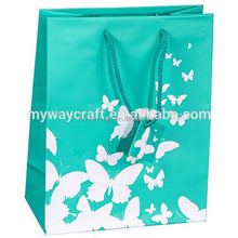 Large Green Kraft Shopping Paper Gift Sales Tote Bags with White Butterfly Print