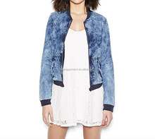 overall acid wash denim bomber jacket
