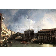 Handmade famous boat paintings on canvas by Canaletto, The Grand Canal near the Ponte di Rialto