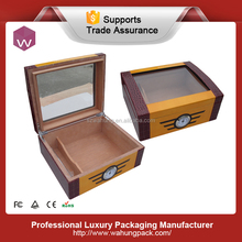 special finished wooden cigar packing box with clear window