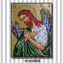 Jy-jh-oec03 iglesia ortodoxa colgando bordo 100% handcut retrato de mosaicos de vidrio pintura azulejos de la pared