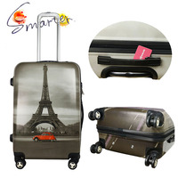 Wheeled Travel Luggage Bags with Eiffel Tower Printing
