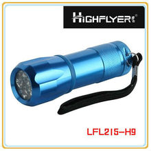 With a fluorescent ring aluminum 9 LED torch