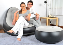 Inflatable Air sofa chair with stool in 190T nylon PVC fabric