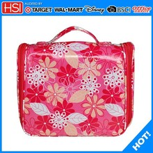 2015 new design portable pvc covered canvas travel cosmetic bag with lid