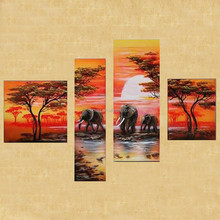 Cheap and 100% handmade home wall art decoration African sunrise landscape elephant oil paintings