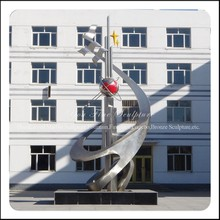 Modern Abstract Stainless Steel School Sculpture with Globe & Dove