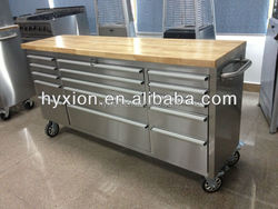 Stainless steel tool box trolley with 15 drawers / with swival casters / with wood top
