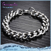 2015 fashion high class men's silver titanium chain bracelet