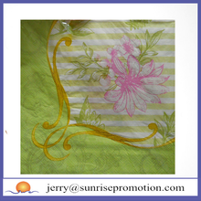 Flower Printed Made of Virgin Wood Pulp Green Napkins For Party