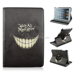 Mustache & Teeth Surface Rotating Fold PU Leather Tablet Case For iPad mini 1/2/3, Hot Selling Folio Stand Cover