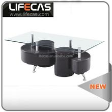 2015 CIFF popular S shape glass coffee table