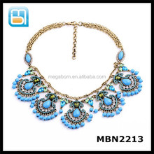 Fashion women gorgeous five crystal statement flower Necklace collar