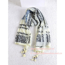 Nueva Bohemia de la borla de algodón de la bufanda