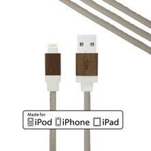 Premium quality high-end mfi approved real leather multi usb cable for iphone 6 charger original with wooden housing