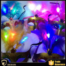 Feathers luminous mask/party mask/Electroplate plastic mask